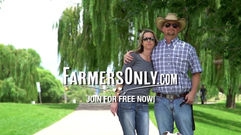 advertisement of couple in farmers hat